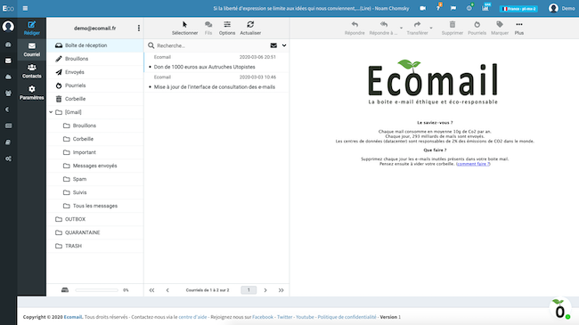 The Ecomail dashboard